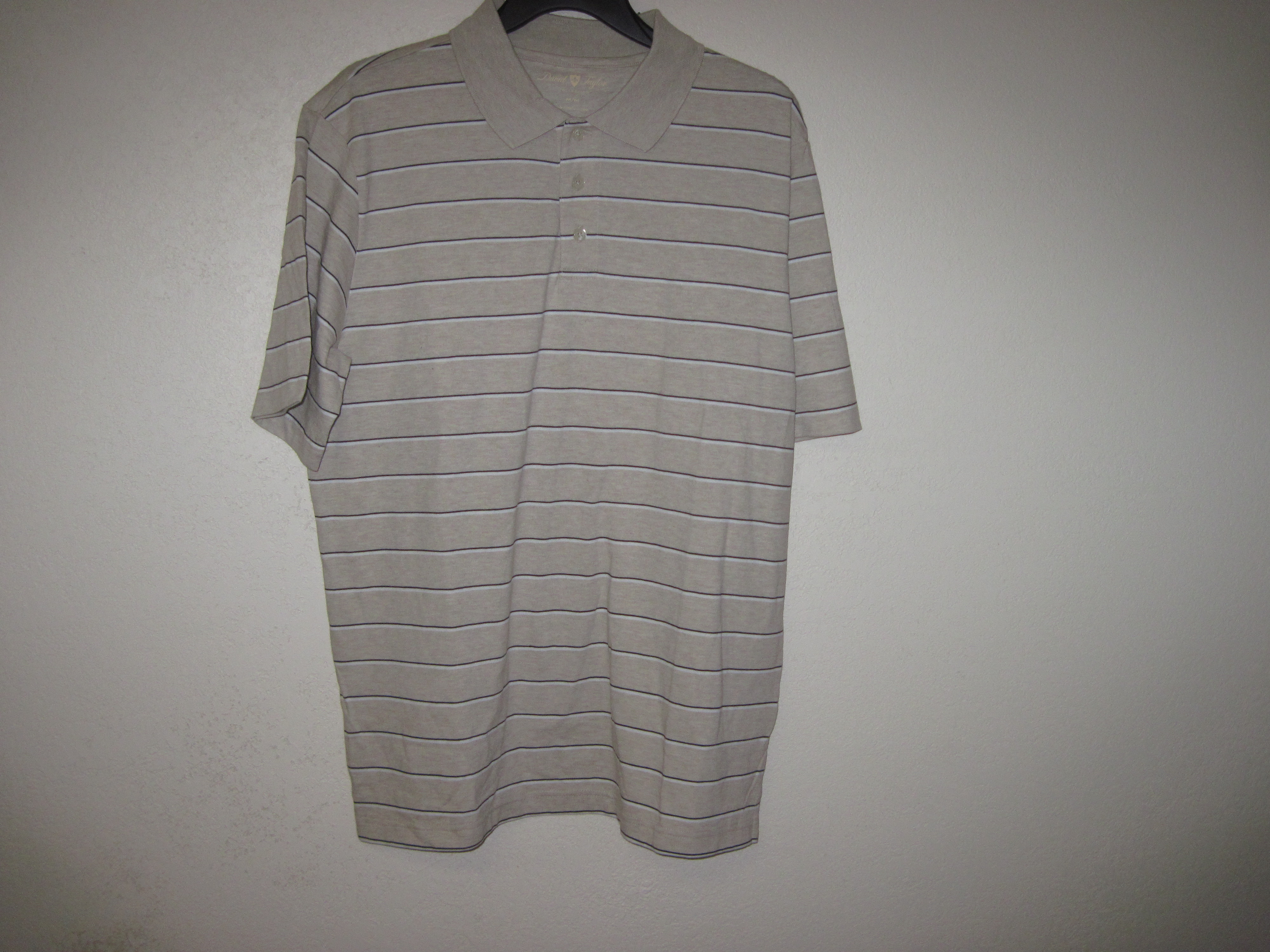 David Taylor Sz M MensNeutral Polo Shirt (Tan,Black,White
