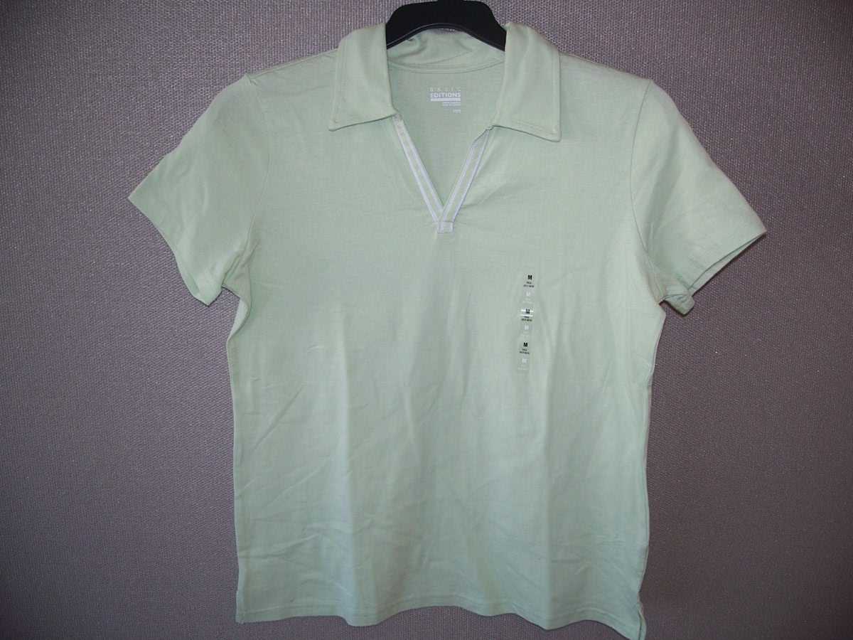 Basic Editions Sz M Polo Split Neck Tee (green)