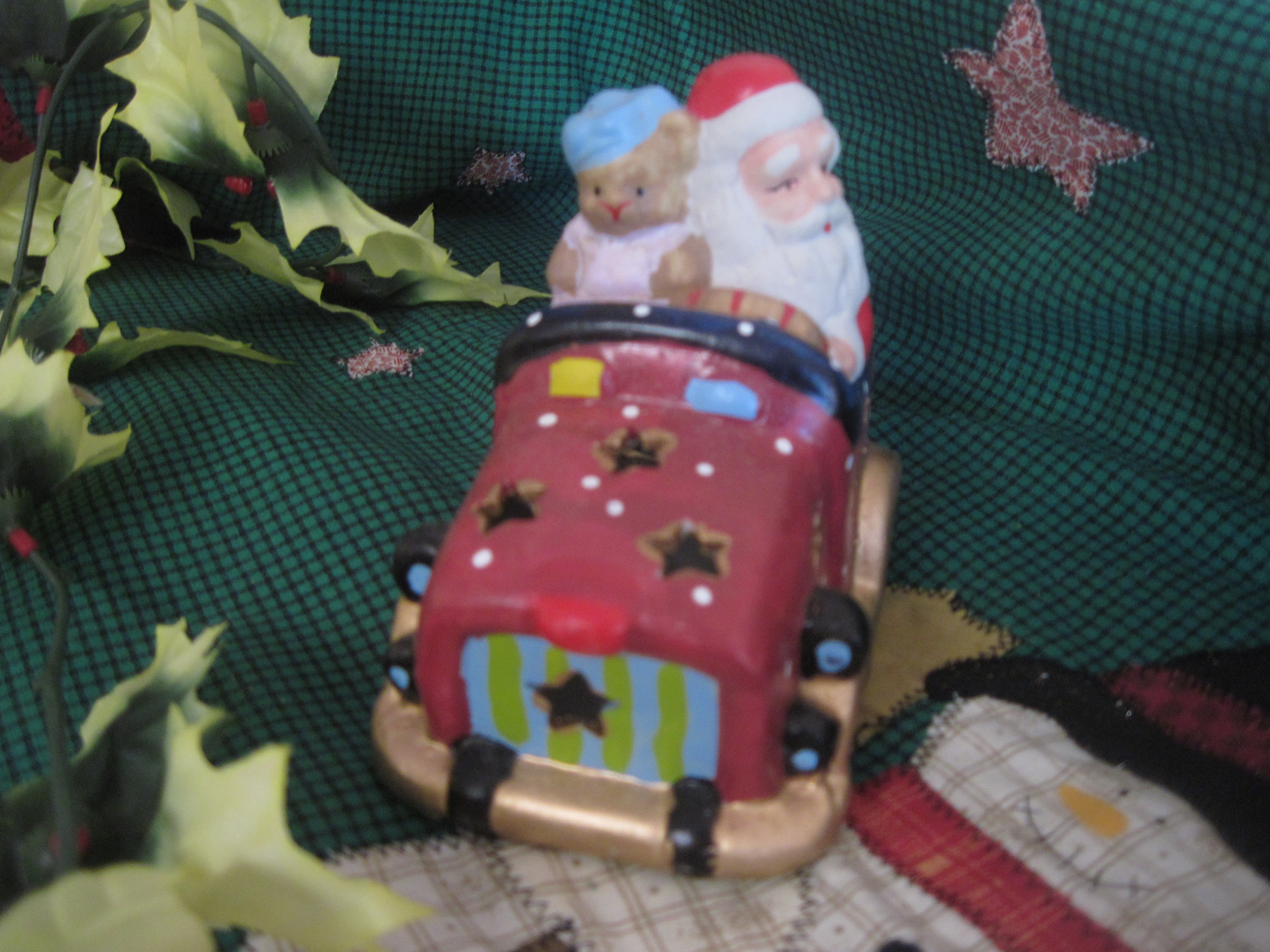 Christmas Porcelain Car with Santa & Teddy Bear