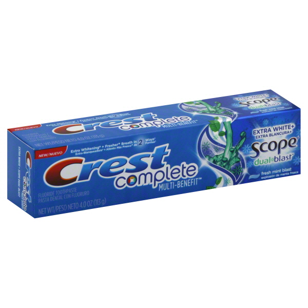 Crest Complete Extra White Plus Scope Dual-Blast Fresh Mint Blas