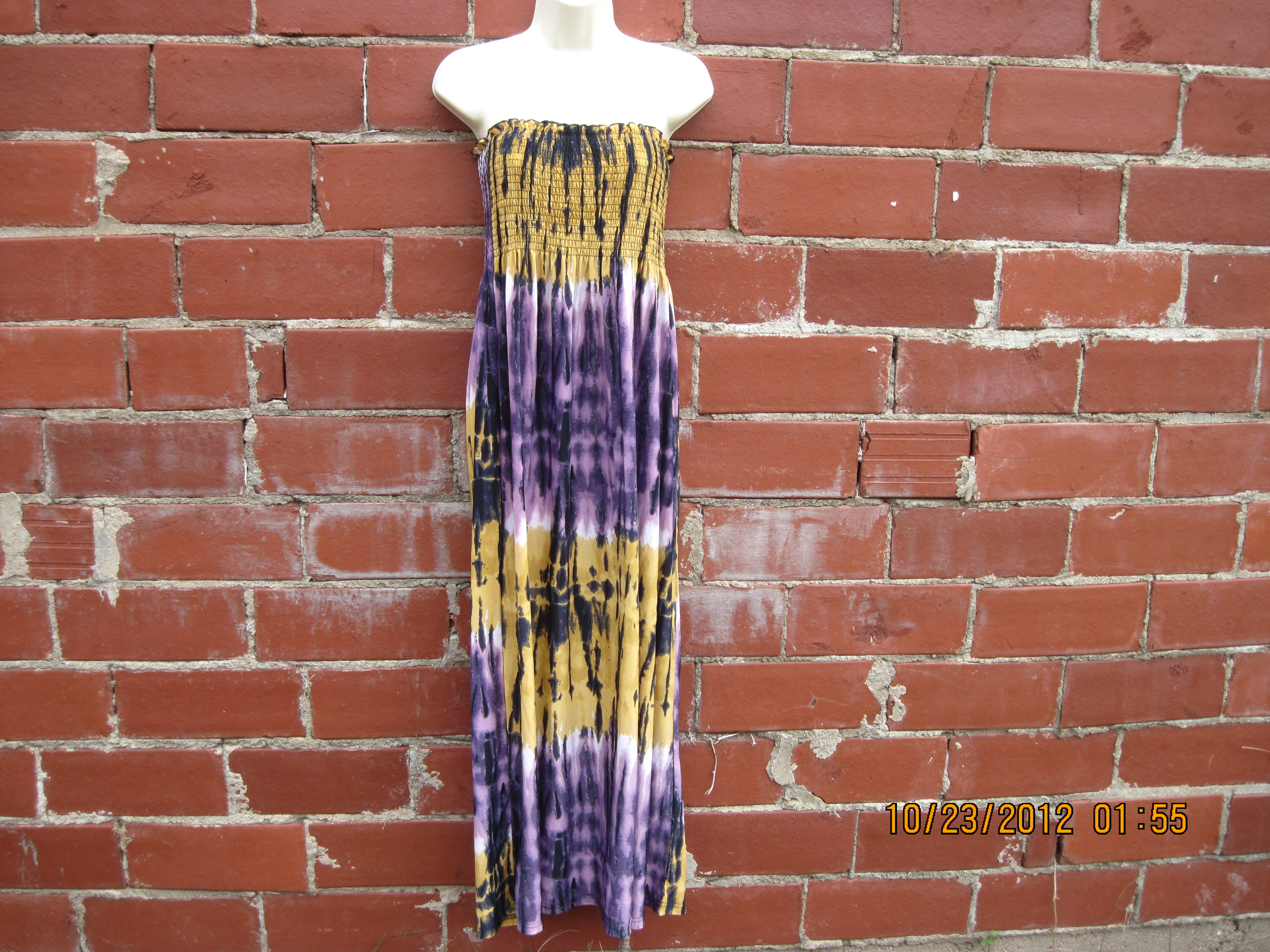 Chesley Sz L Tube Top Dress (purple burnt yellow)