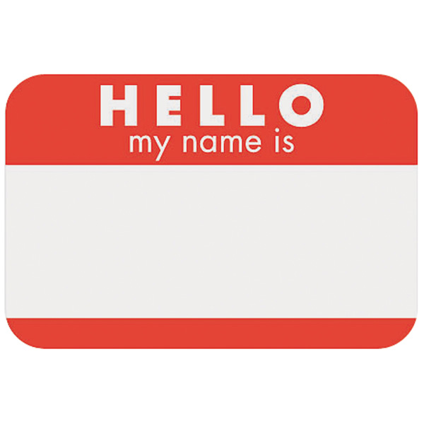 Hello Name Labels 25 Pack Red Color