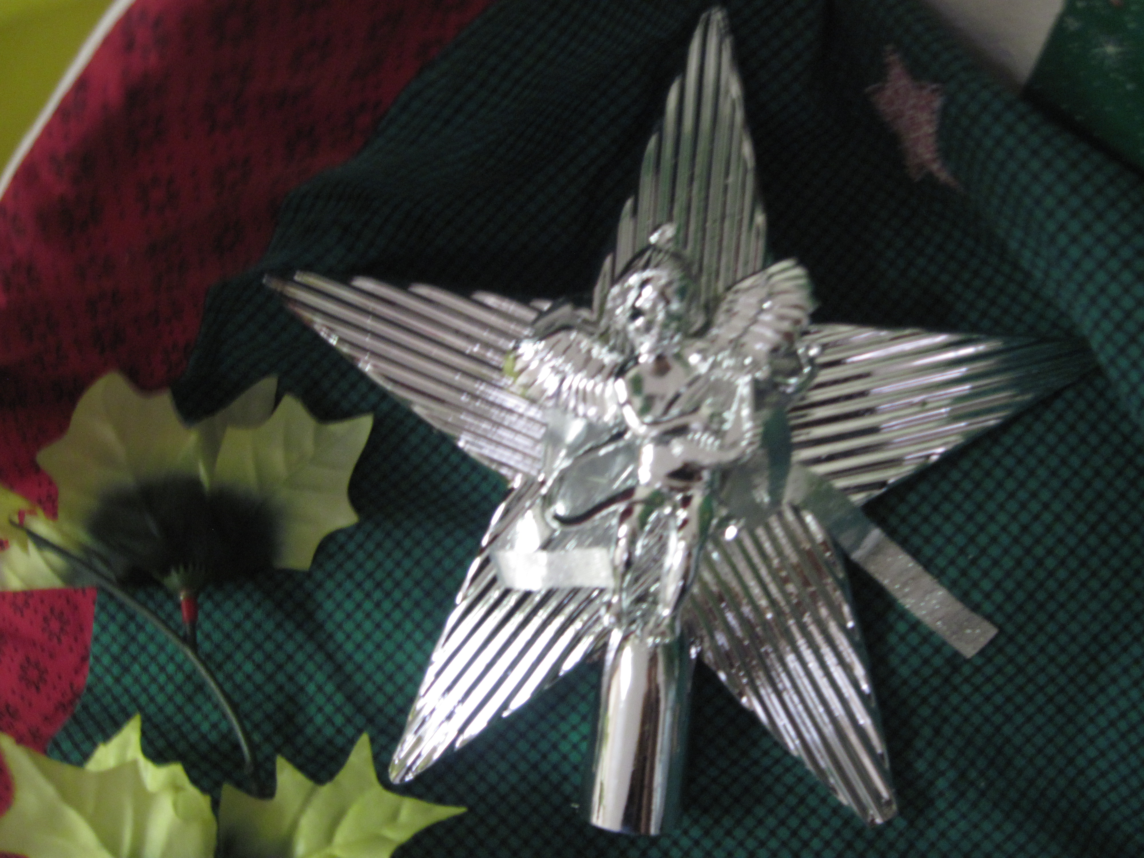 Silver Star/Cherub Christmas Tree Topper - Rigid