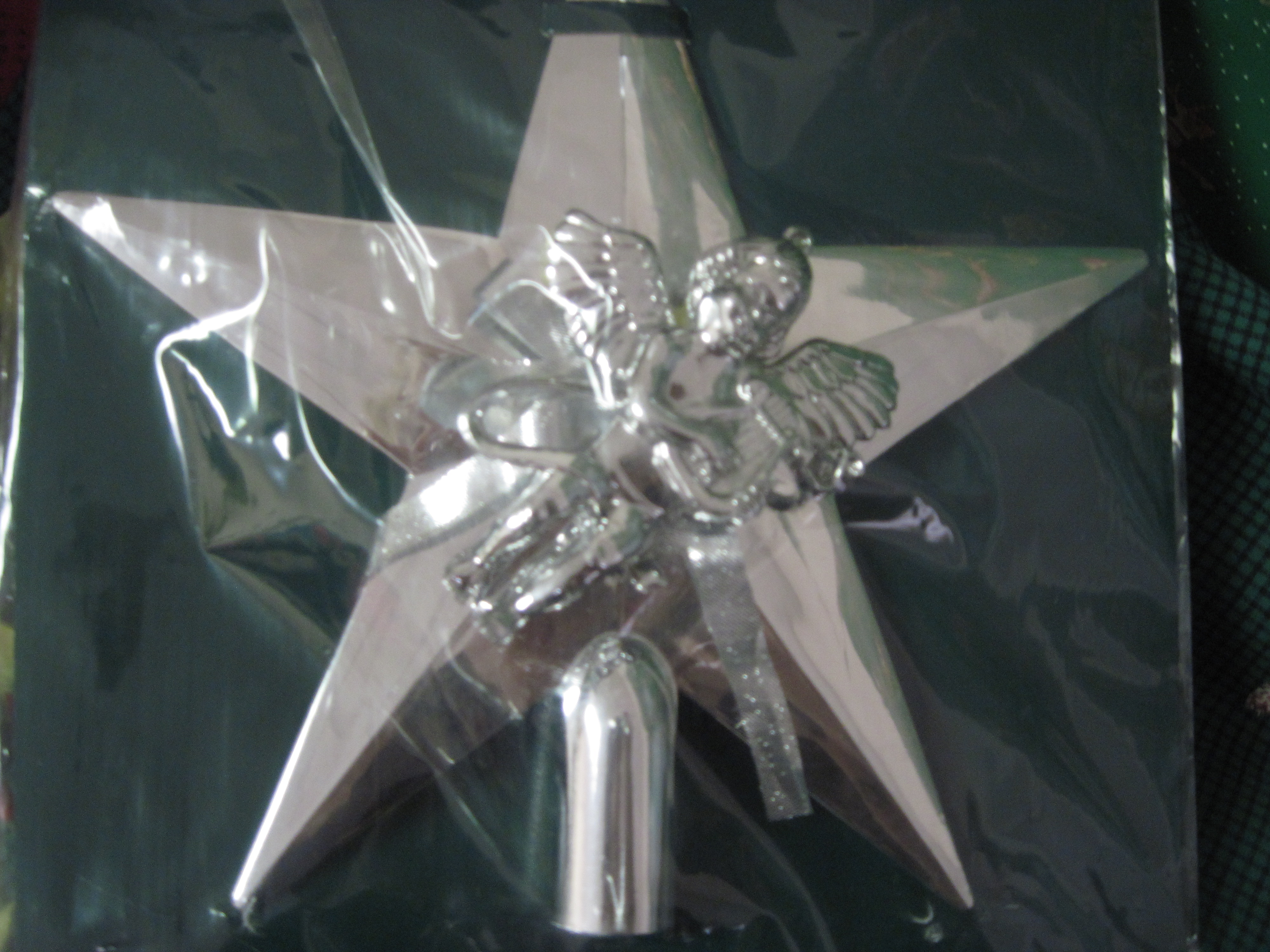 1 Silver Star/Cherub Christmas Tree Topper - Shiny