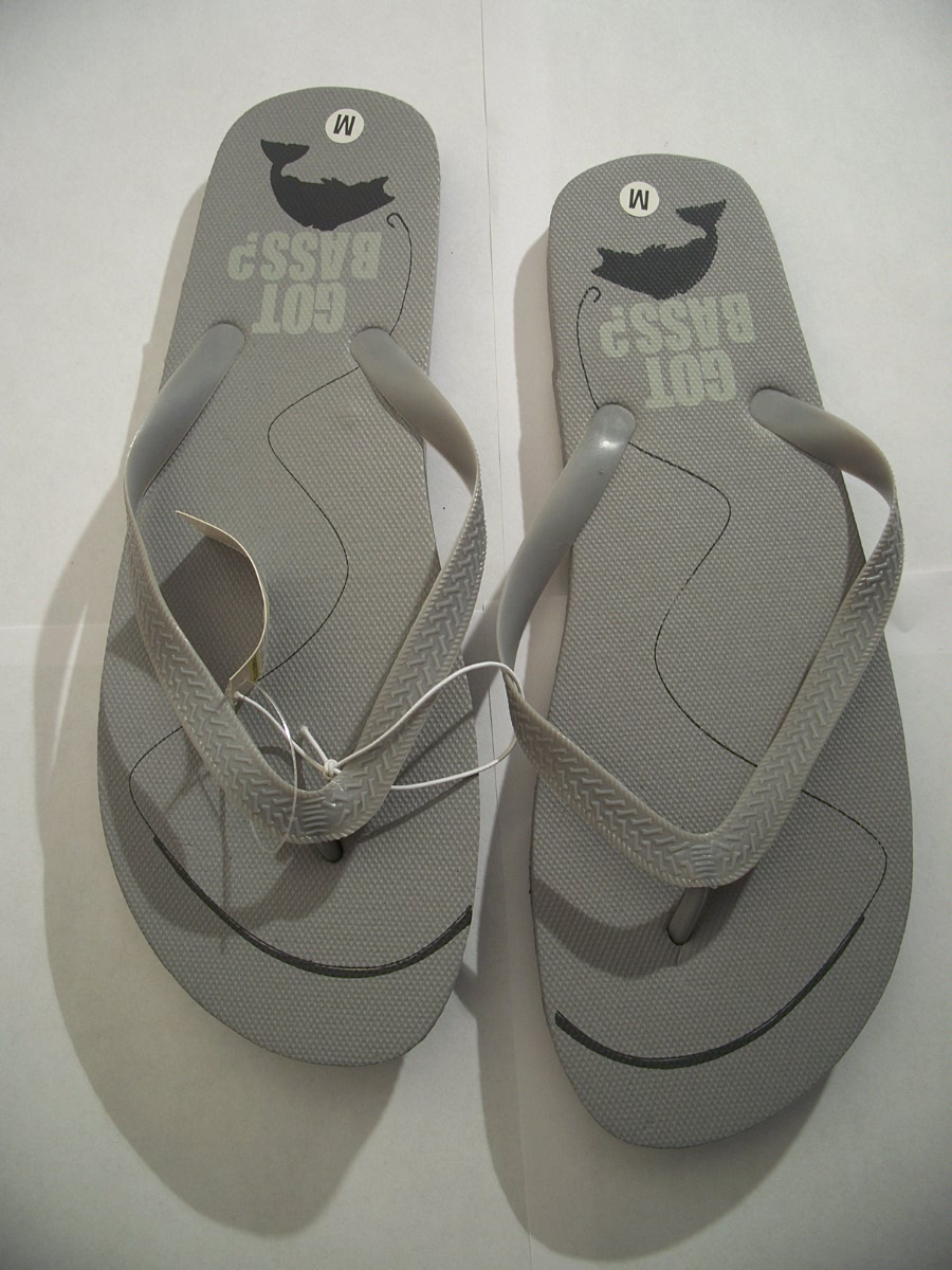 Flip Flops Gray Got Bass ? Size Medium 10 / 11