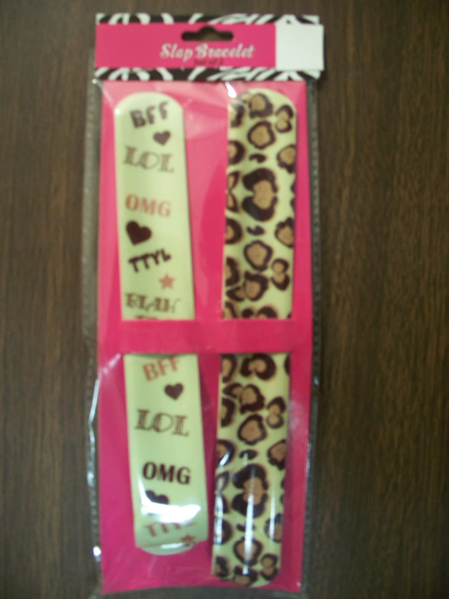 Slap Bracelet Set of 2 ( BFF,LOL,OMG,TTYL,BLAH Brown)
