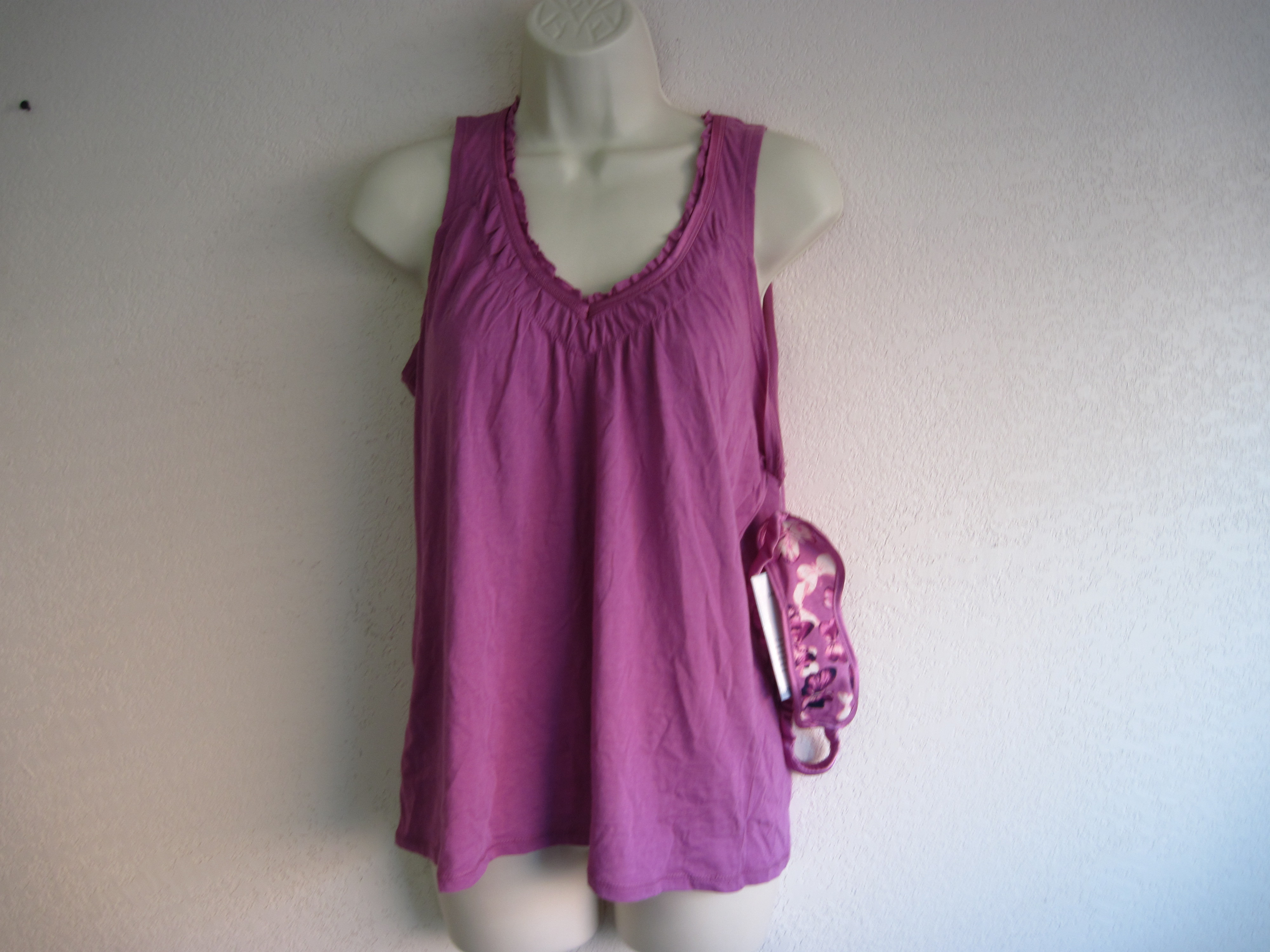 Jaclyn Smith Sz Small Sleep Tank & Matching Eyemask (purple)