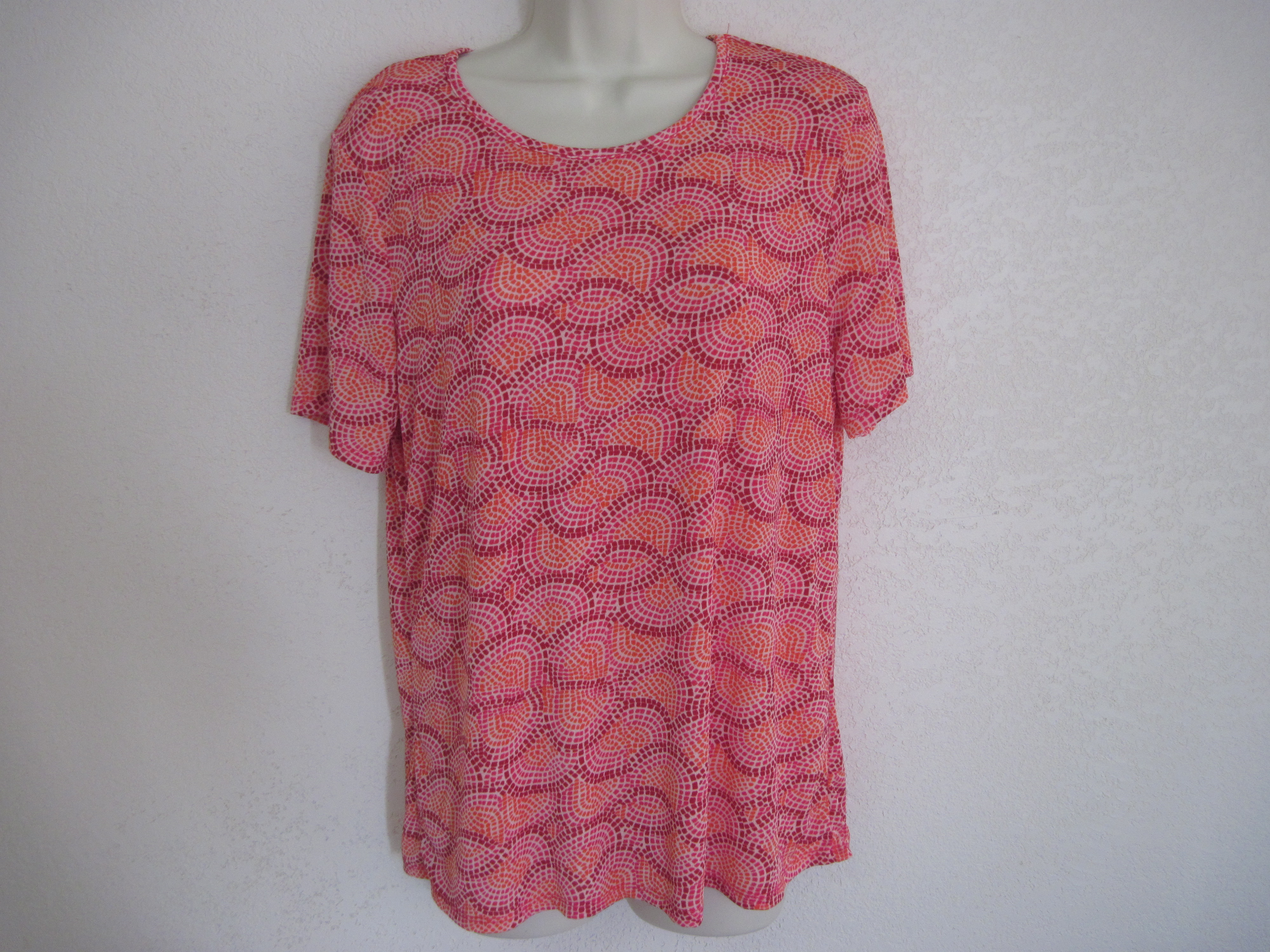 Jaclyn Smith Sz L Womens Shirt (Slinky Shells Orange,Pink
