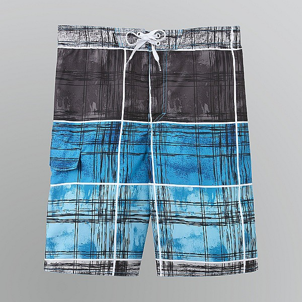 Joe Boxer Sz 2XL Mens Drawstring Plaid Swim Shorts