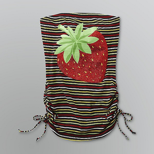 Bongo Sz M JuniorStriped Top with Strawberry Graphic