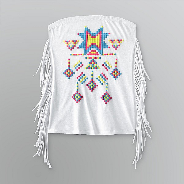 Bongo Sz M Juniors Top Side Fringe Native Dangle White