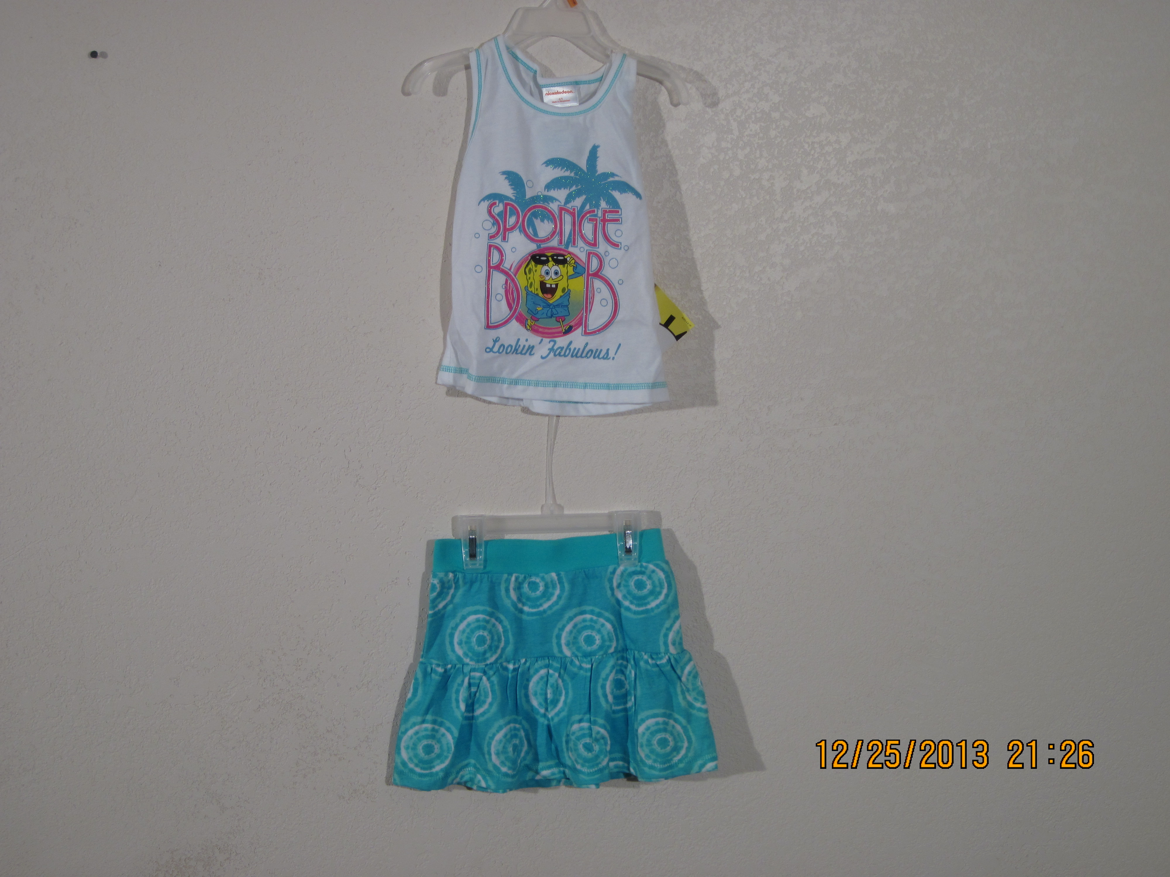 Spongebob 2 Piece Tank & Skort Set( white & blue)