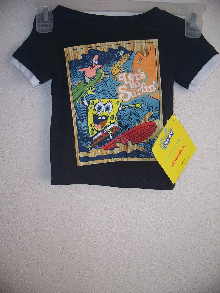 Spongebob Squarepants Sz 2T Lets go Surfin Black