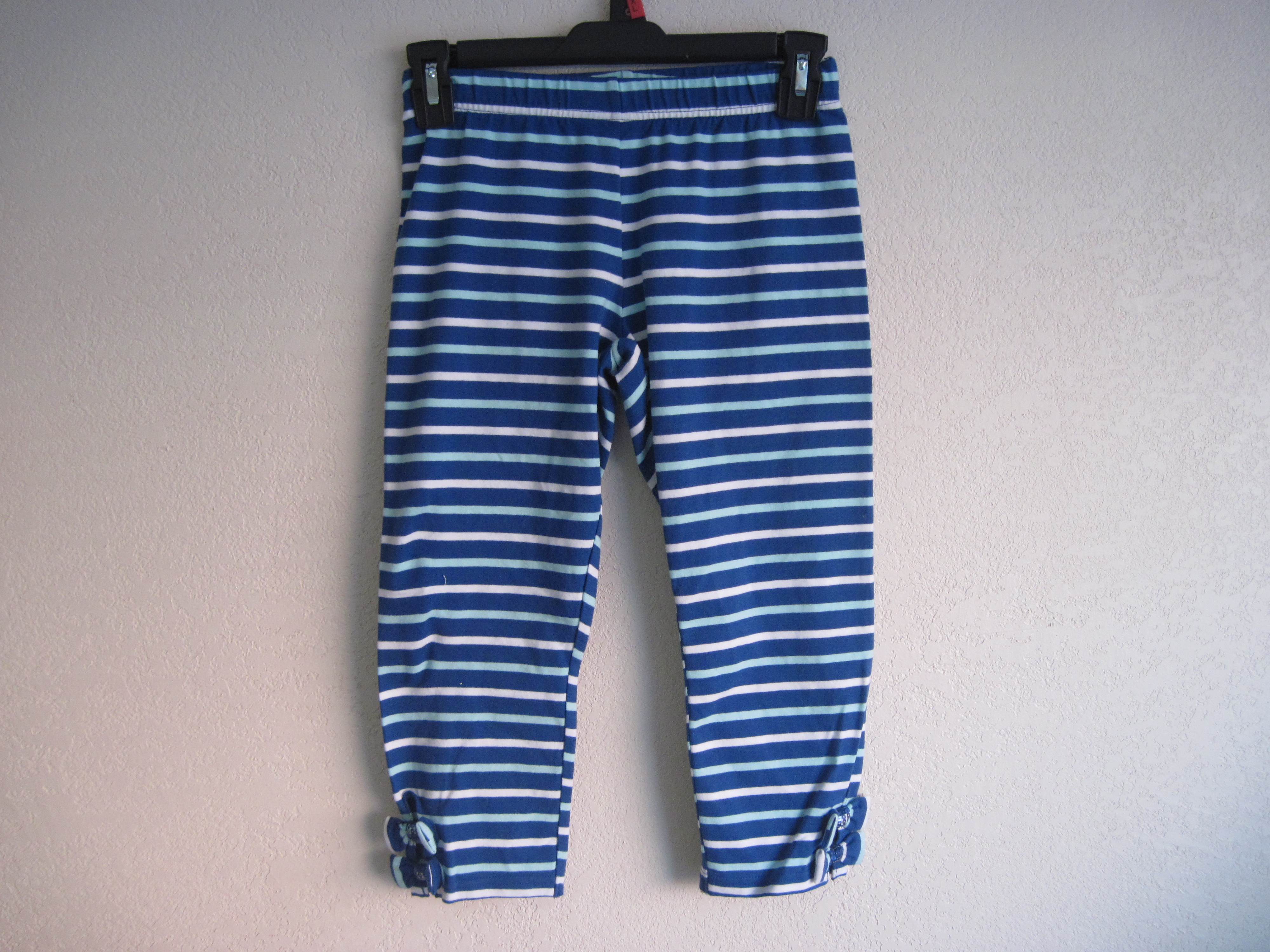 Basic Editions Sz Lg 10/12 Striped Capri W/ Bows (blue & white)