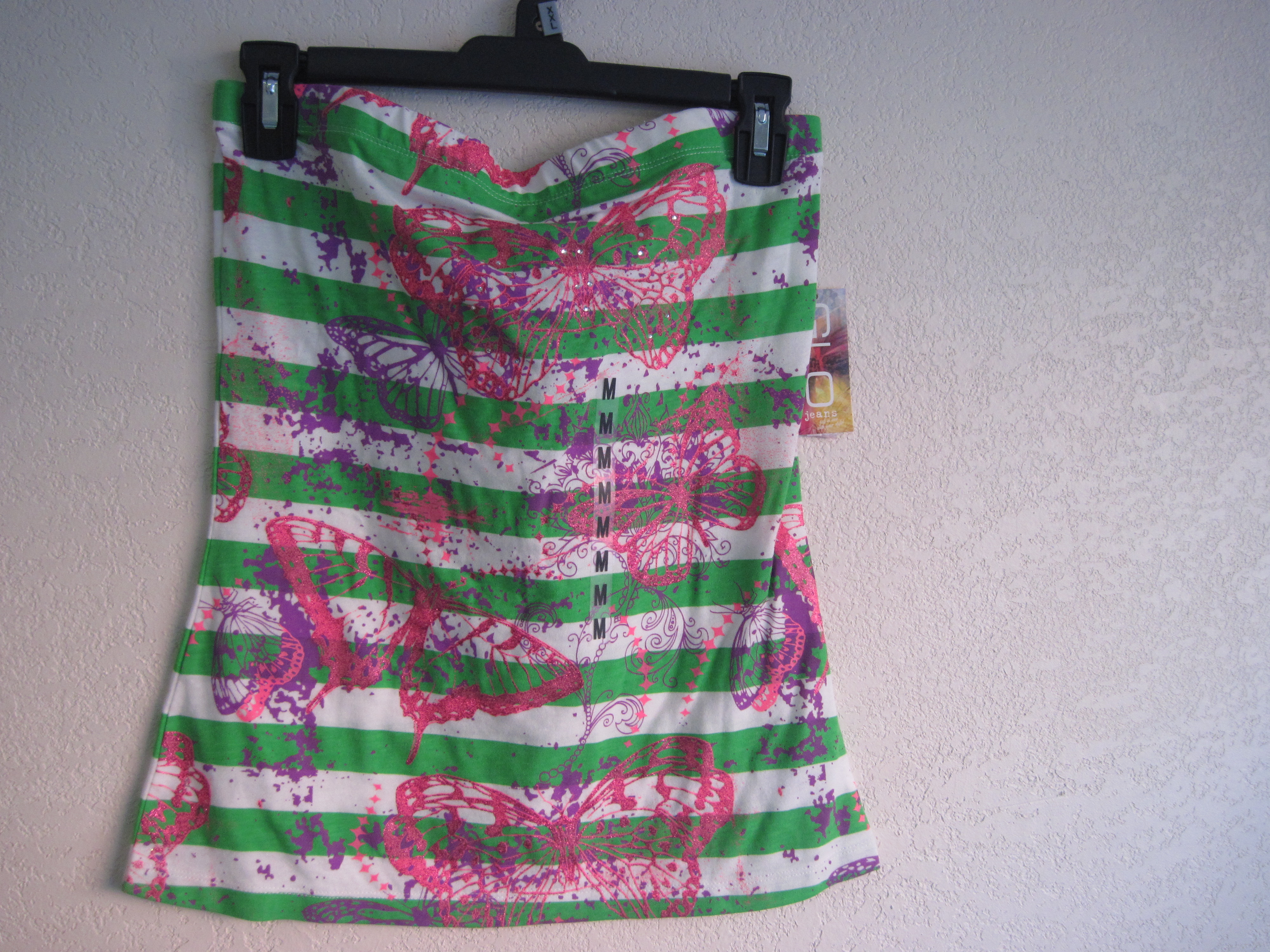 GLO Sz M Juniors Striped Tube Top With Graphic Print-green&white