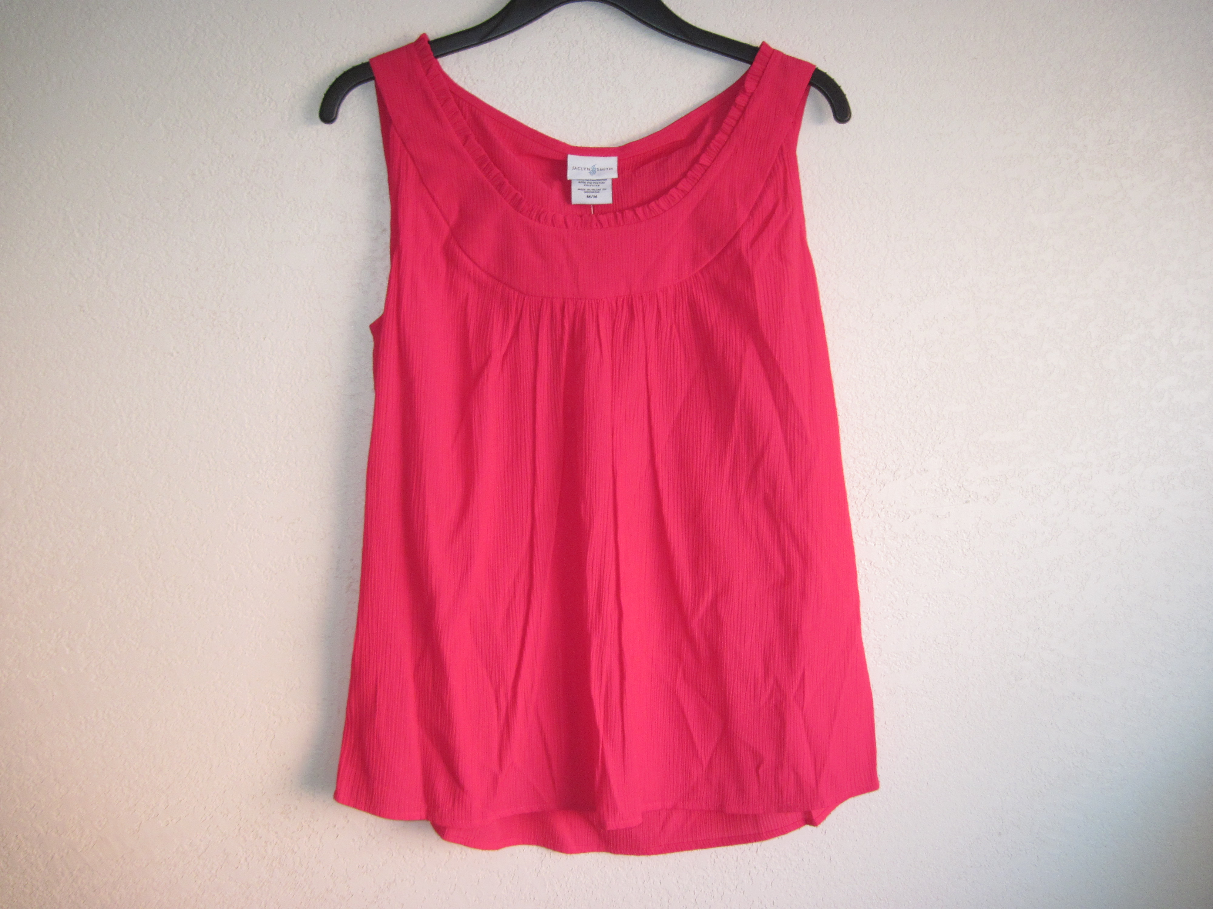 Jaclyn Smith Sz M Summer Crepon Tank (Hot Pink)