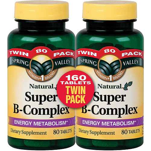 Spring Valley Natural Super B-Complex Tablets, 80 count (Pack of