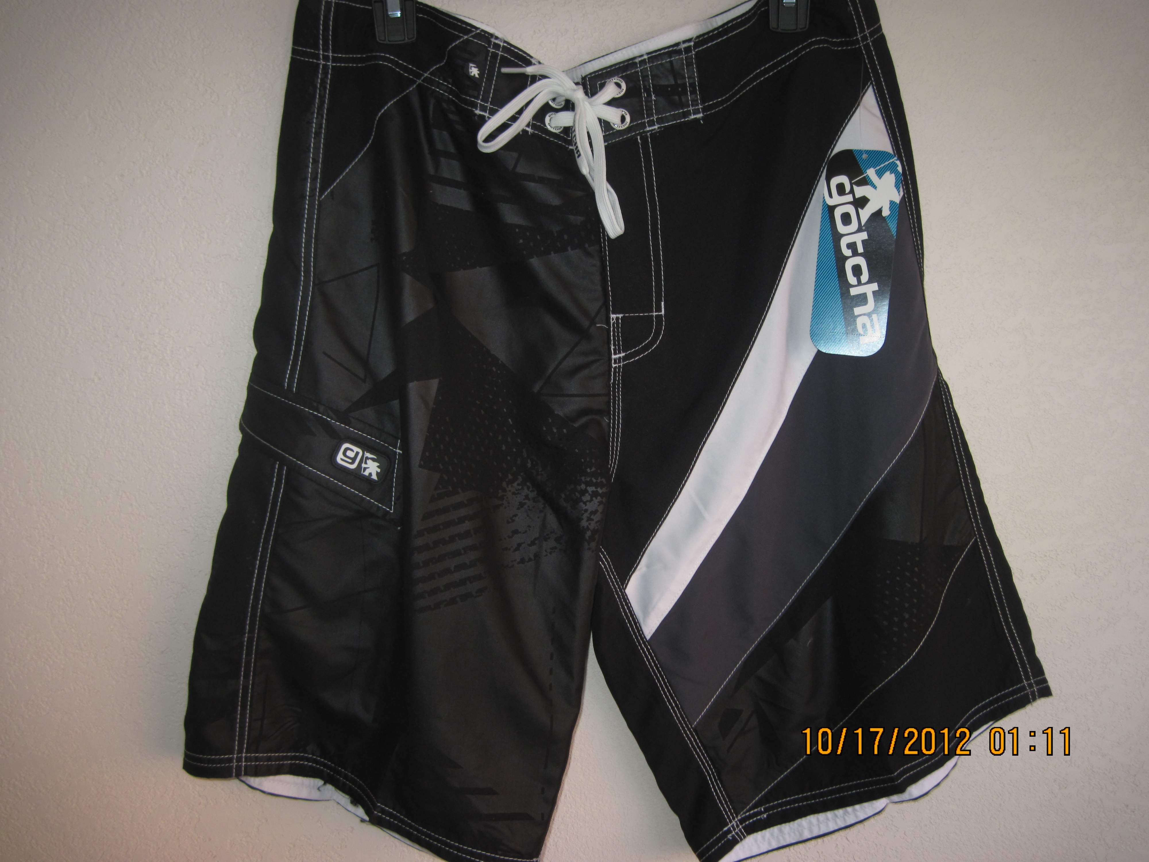 Gotcha Sz 38 Swimwear (black,white & grey)