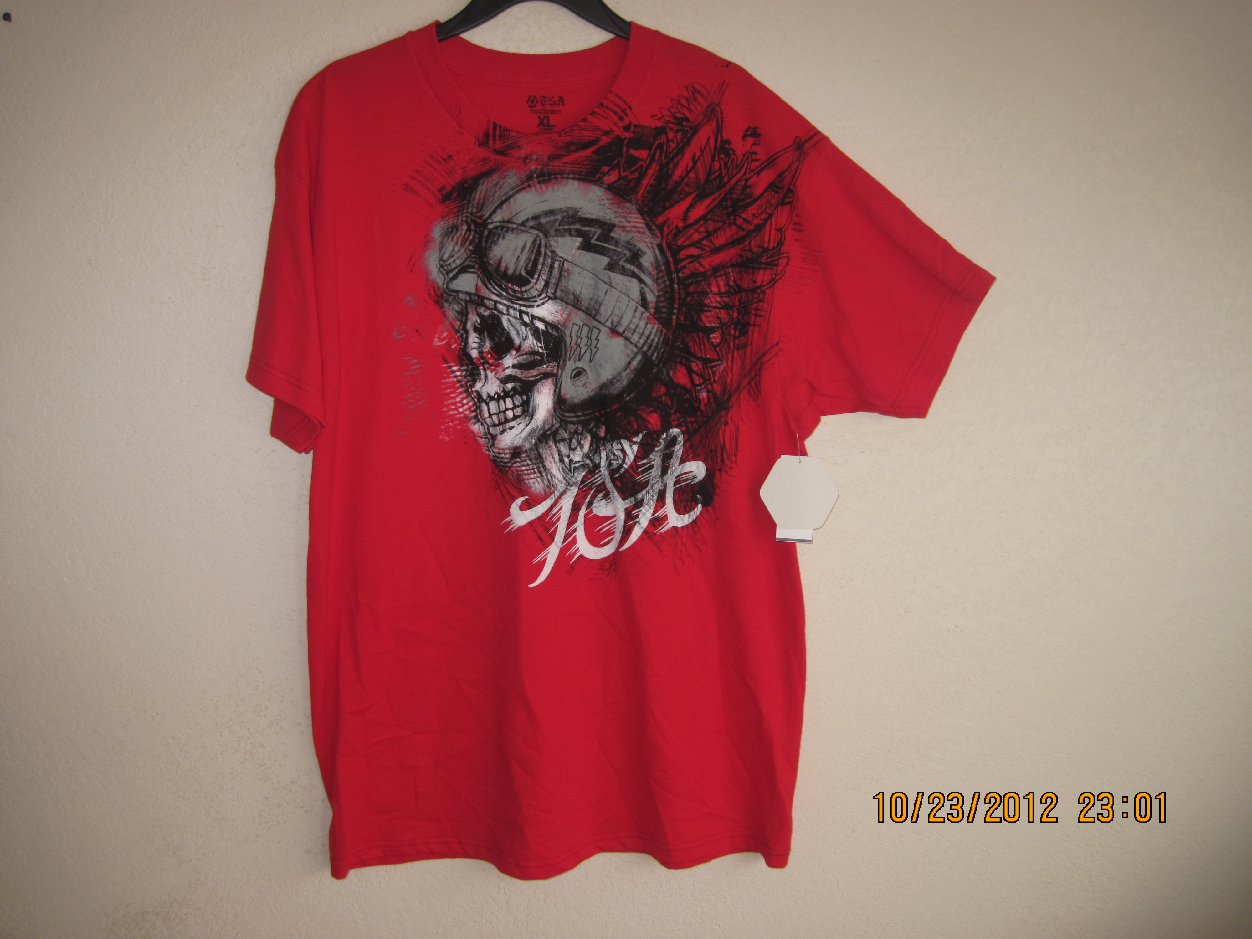T.S.A MX Sz XL T-Shirt with Skull on front (Red)