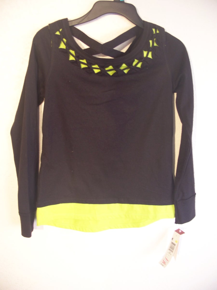 Bongo Junior Sz L 10/12 Trans Fashion Top black & green