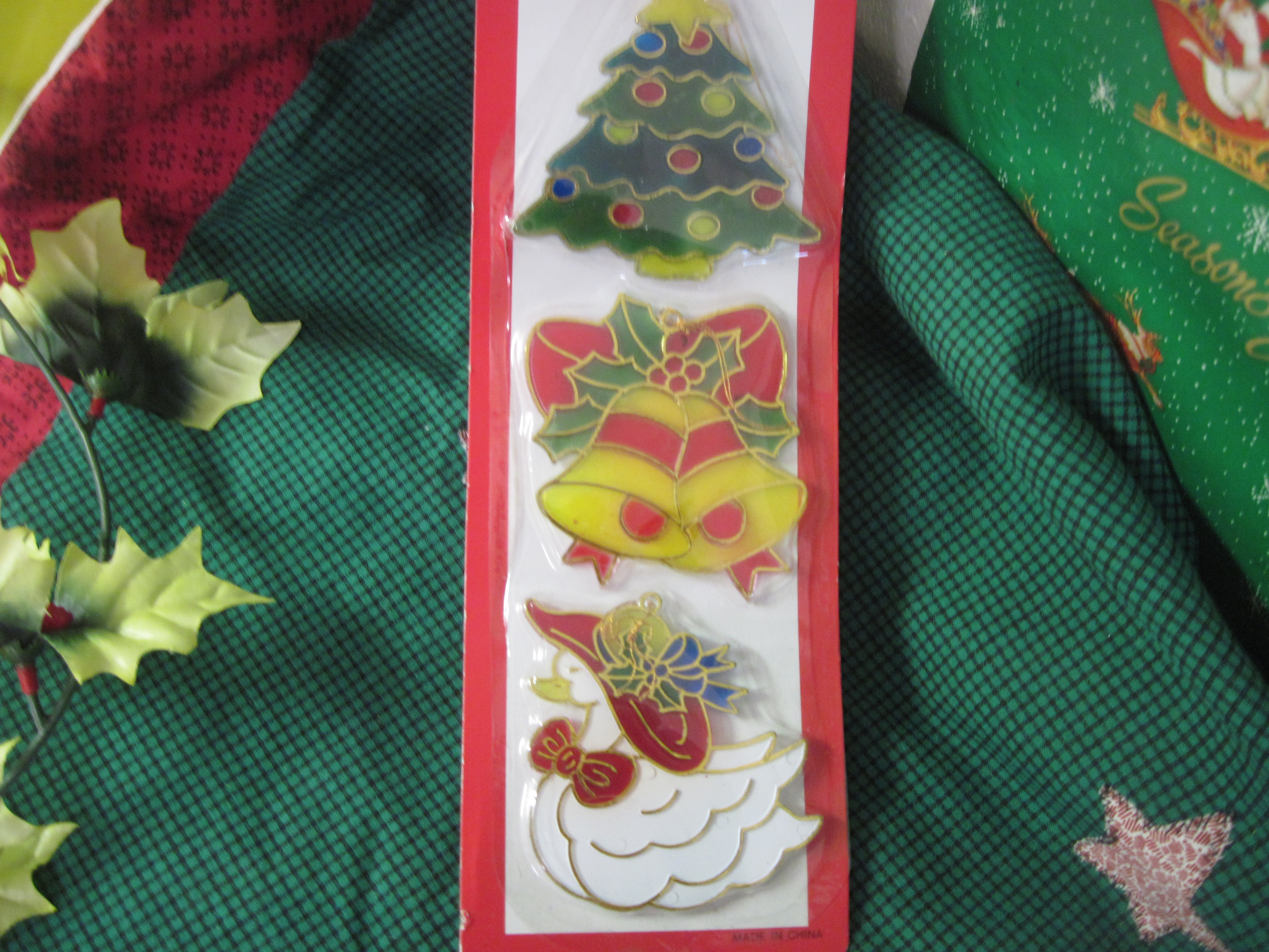 Set of 3 Christmas Tree Ornaments - Tree,Bells,Goose