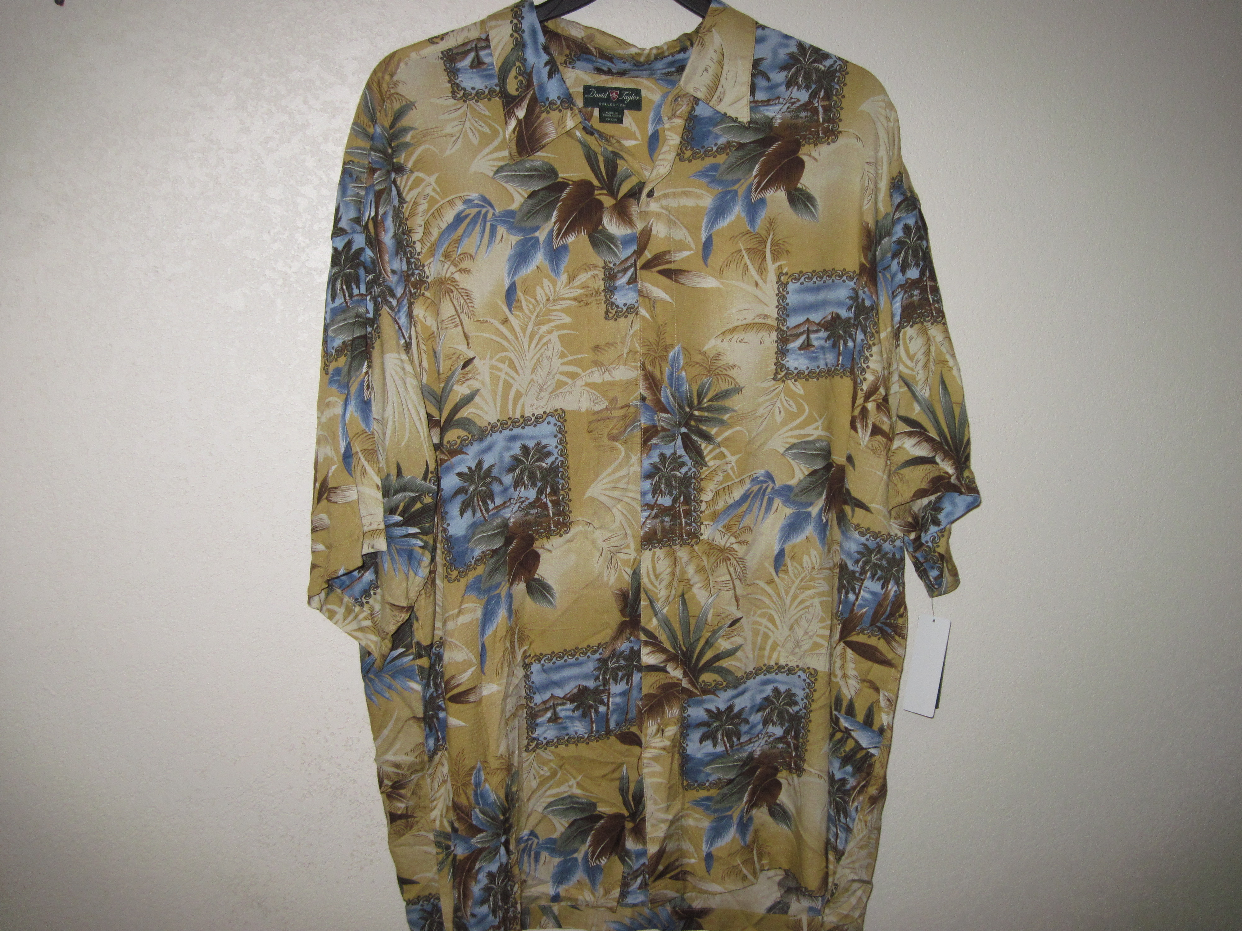 David Taylor Sz 2XLT Big & Tall (Tropical) Cream Shirt