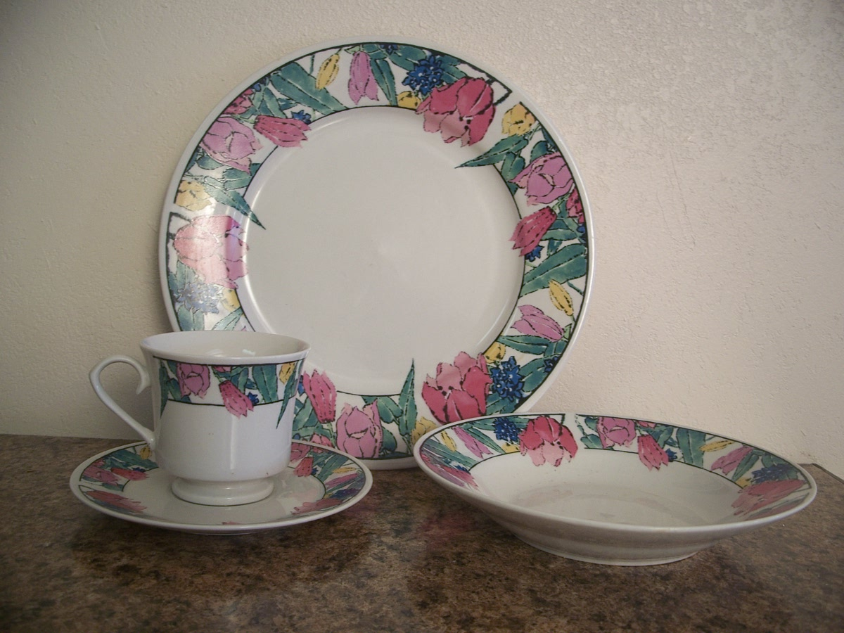 Vintage Collectable Pan Stone 20pc 4 Place Dinnerware Tulip Prin