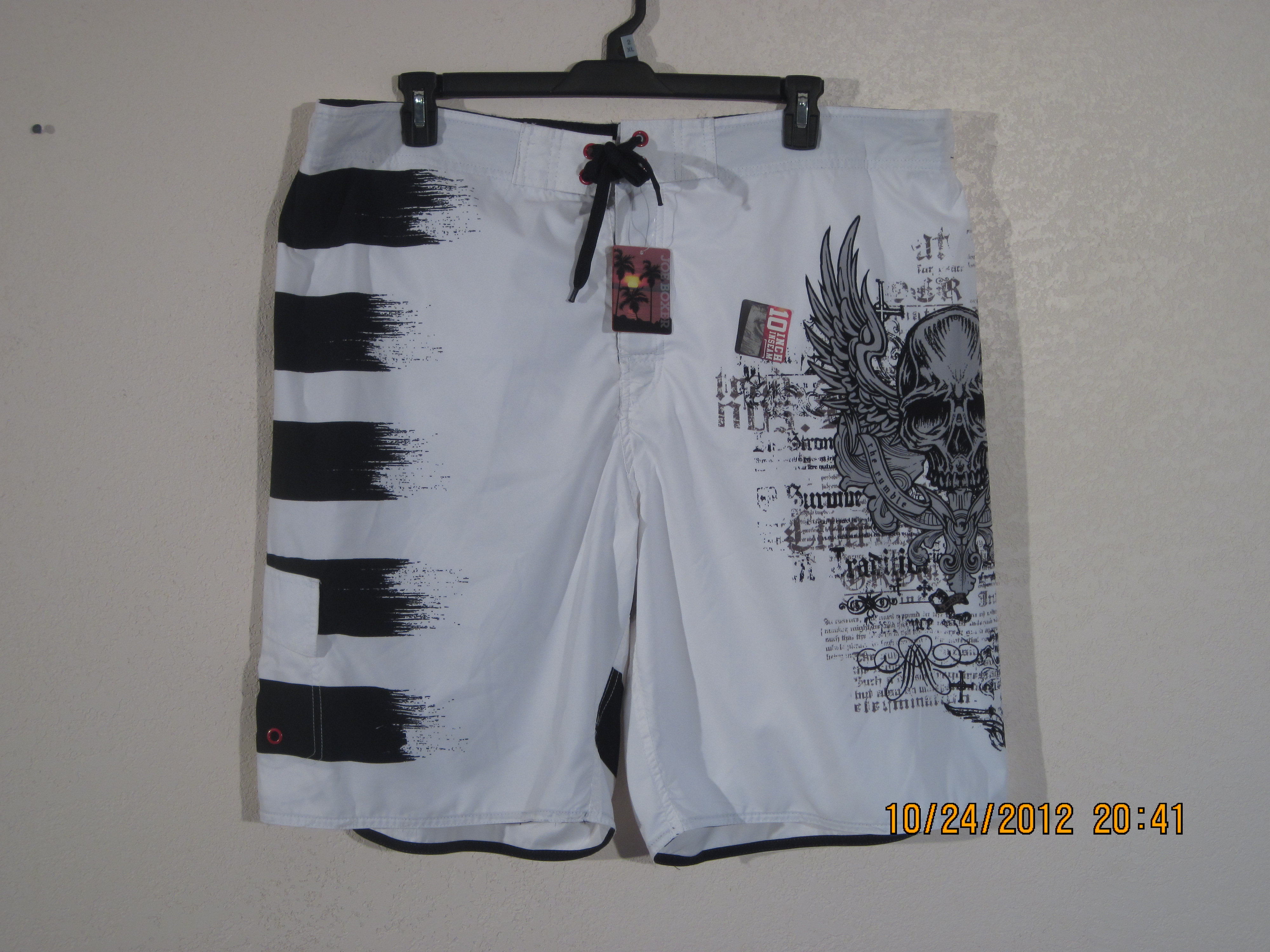 Joe Boxer SzXXL Swimwear shorts White,Black with skull