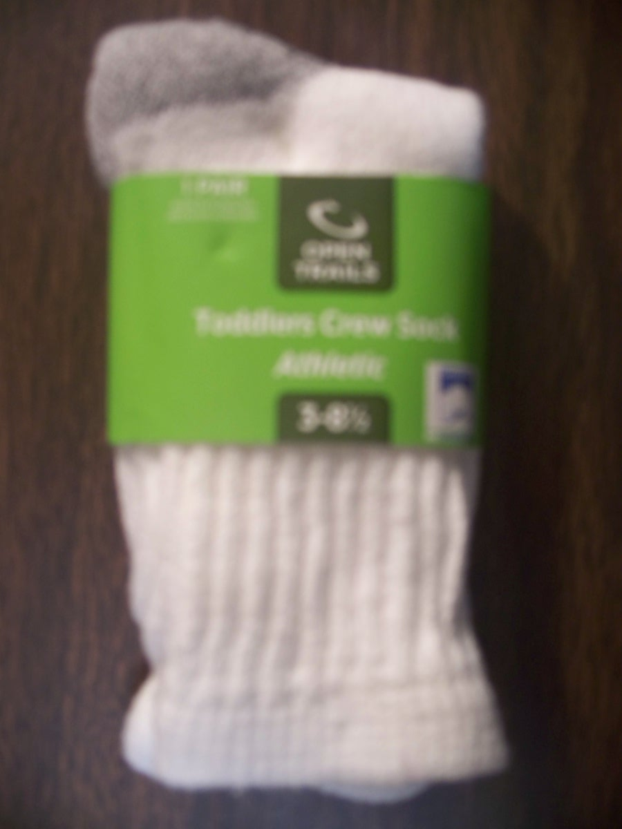 Open Trails Toddlers White Crew Athletic Sock 3-8 1/2