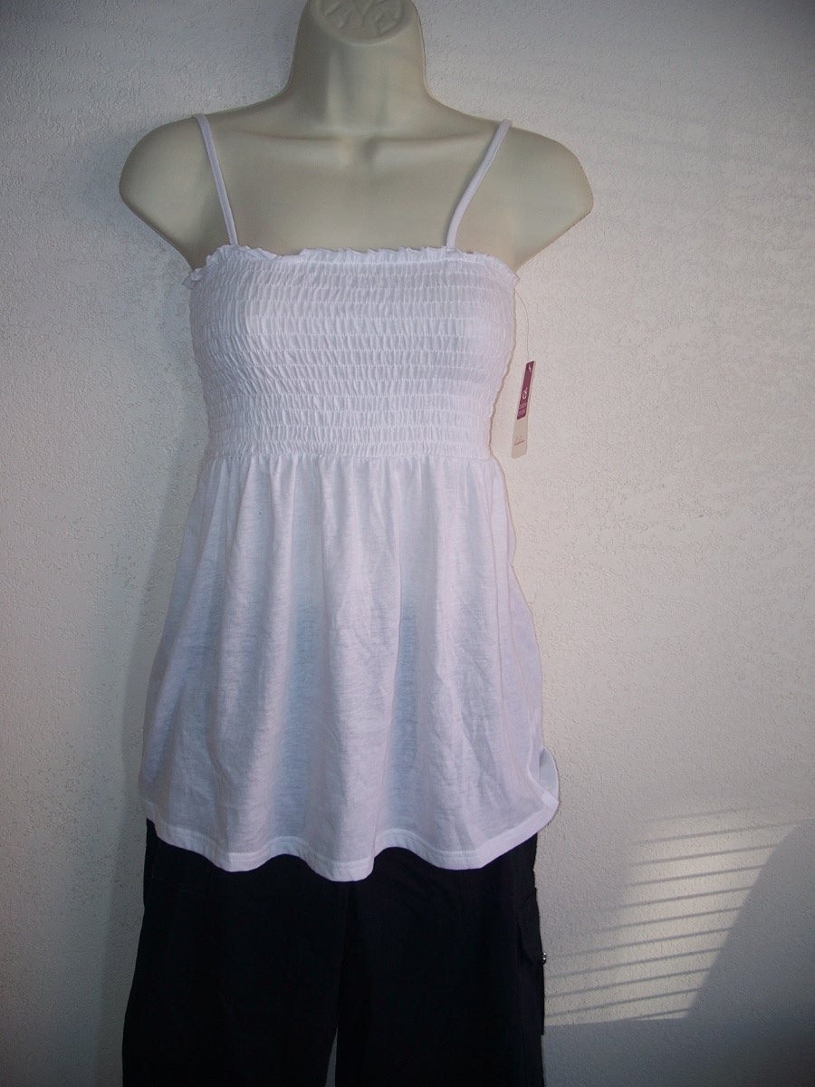 Bobbie Brooks Ladies White Tube Top with Straps Sz S 6