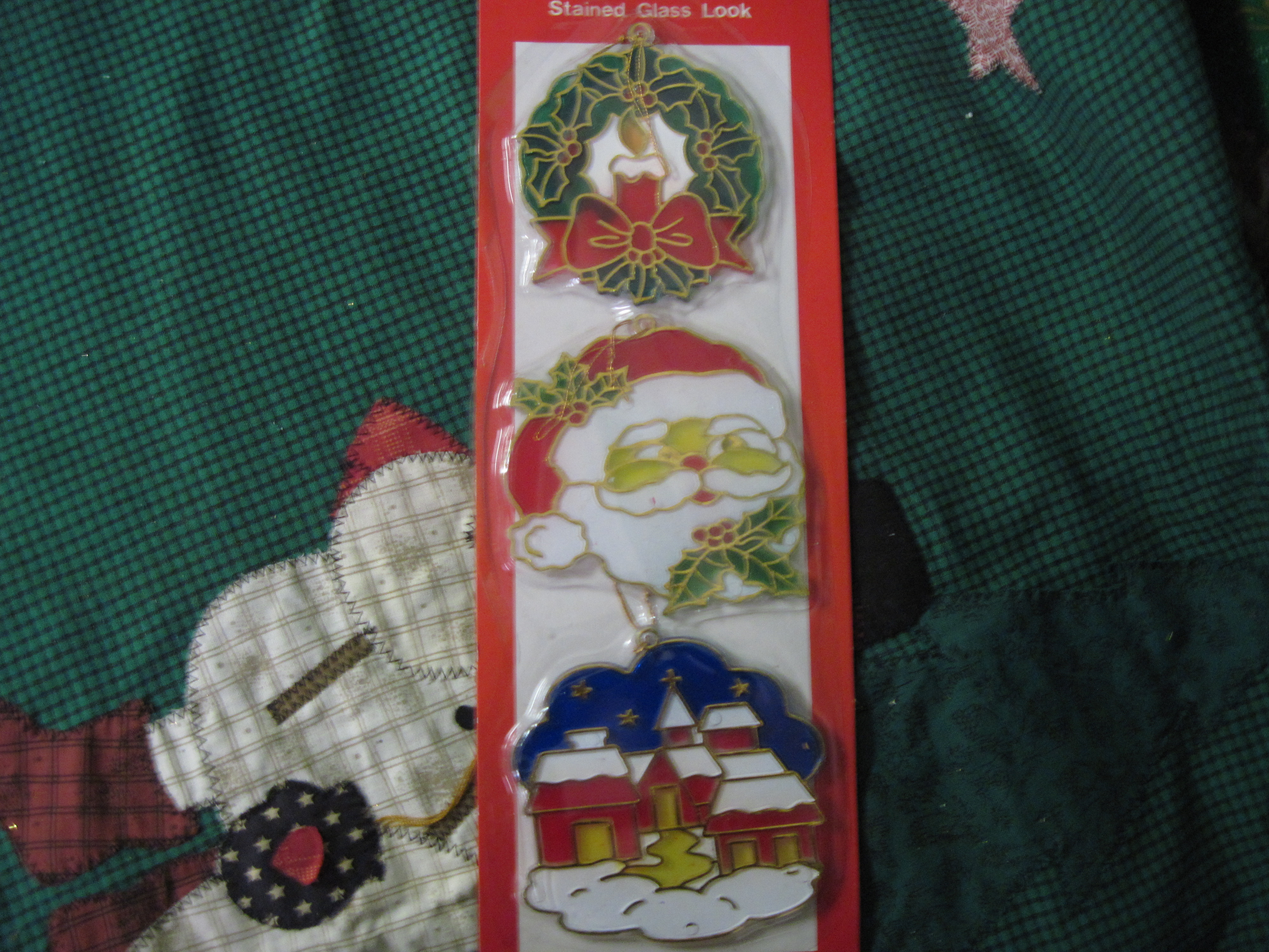 Set of 3 Christmas Tree Ornaments - Wreath,Santa,North Pole