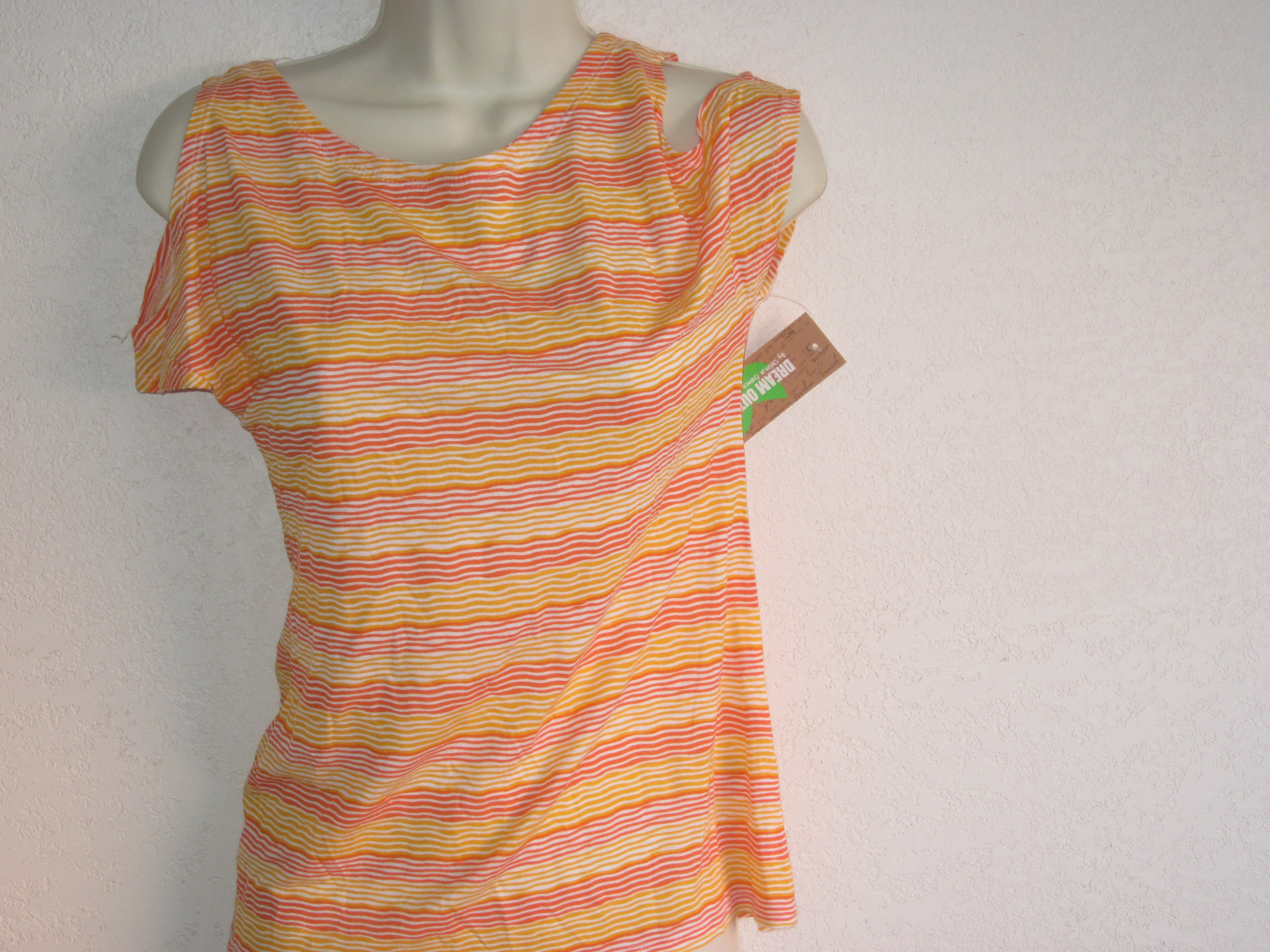 Dream Out Loud Sz XS Junior Striped Criss Crossed Back Shirt ylw